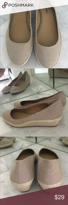 """New Lucky Brand Tilly Wedge Beige-Size 8.5 New, comfortable, and cute wedges with a 1 1/2"""" heel. Looks great with shorts, capris, and sundresses or whatever your little heart desires. Lucky Brand Shoes Wedges"""