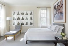Thomas Jayne Photographs by Bernd and Hilla Becher (left) and what looks like Candida Hofer - ? (over the bed)