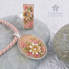 Handmade SET of ring and pendant, pink-gold floral motif in silver tone metal bezel, polymer clay filigree applique technique, vintage style by Filigrina on Etsy https://www.etsy.com/listing/177270354/handmade-set-of-ring-and-pendant-pink
