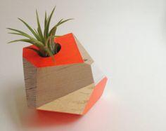 Geometric Neon Orange Vase