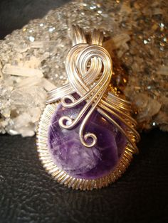 Amethyst Silver Wire Wrapped Pendant by superioragates on Etsy, $40.00