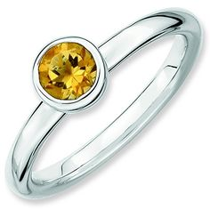Sterling Silver Stackable Expressions Low 5mm Round Citrine Ring Size 9 ** Click image for more details. #Xmasjewelry