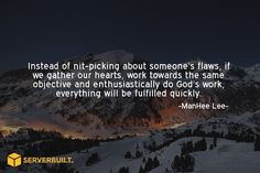 Instead of nit-picking someone's flaws, if we gather out hearts.. #serverbuilt