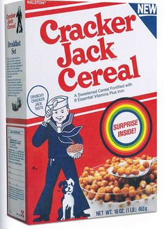 All about Cracker Jack Cereal Cereal from Ralston - pictures and information including commercials and cereal boxes if available. You can vote for Cracker Jack Cereal or leave a comment. Cracker Jacks, Breakfast Cereal, The Breakfast Club, Junk Food, Vintage Ads, Crackers, Childhood Memories, Treats, Cereal Boxes