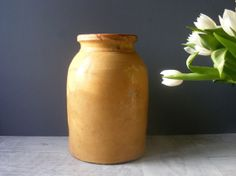 Large Antique French Ochre Glazed Pottery Confit Pot,French Pottery. on Etsy, £79.73