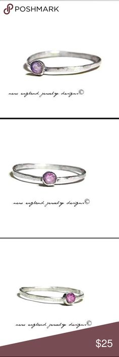 SALE Purple Topaz 925 Sterling Silver Ring Stack it or wear it alone, I'll guarantee this ring won't disappoint! 925 Sterling silver and 3mm purple topaz semi precious gemstone, the band of the ring is slightly textured.Available in sizes 2-13.  ⭐️NOTE⭐️ I'm totally open to all reasonable offers! Customer service is my #1 priority! I am a professional jeweler and sell online as my way of making a living, so your total satisfaction is what I strive for! I do customized pieces upon request, so…