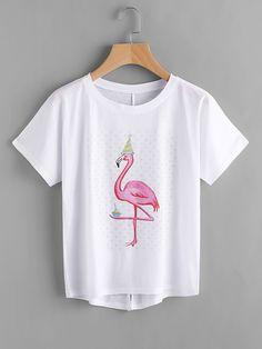 Camiseta asimétrica con impresión y espalda con abertura -Spanish SheIn(Sheinside)