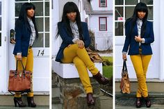 Navy blazer and mustard yellow pants