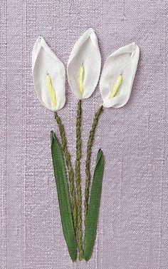 Ribbon Embroidery For Beginners Calla Lilies Card. Silk Ribbon Embroidery by bstudio on Etsy Embroidery Designs, Ribbon Embroidery Tutorial, Crewel Embroidery Kits, Silk Ribbon Embroidery, Embroidery Thread, Embroidery Supplies, Embroidery Alphabet, Geometric Embroidery, Machine Embroidery