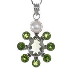 Сребърен медальон с празиолит, перидоти и перла | Tezzor.com