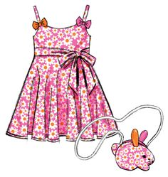 sew Easter Children's/Girls' Dresses, Belt and bunny Bag