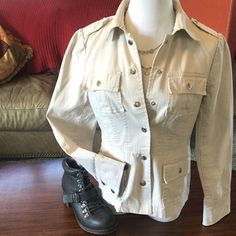 Like new WILLI SMITH Cotton Linen Jacket - S Cute fitted, unlined spring jacket with silver snaps on pockets, cuffs and epaulets.  Pleated back with split hem pleat.  Stone color linen cotton blend.  Fits Misses XS-SM, Juniors MED. Willi Smith Jackets & Coats Jean Jackets