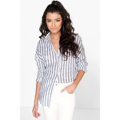 Boohoo Hope Washed Out Stripe Oversized Shirt ($30) ❤ liked on Polyvore featuring tops, t-shirts, multi, cotton t shirt, white long sleeve t shirt, crew neck t shirt, long sleeve shirts and long-sleeve shirt