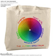 The Autism Spectrum blog post from a mom. Tote and t-shirts for sale. | Grammatical Art