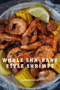 If you have ever been to Boiling Crab or Hot & Juicy in Los Angeles, you probably know how amazing their whole sha-bang sauce is! Whole Shabang Boiling Crab Style Shrimp served with corn on the cob and Andouille Sausage! Just get down and dirty and peel a Cajun Seafood Boil, Shrimp And Crab Boil, Seafood Boil Recipes, Crab Recipes, Seafood Dishes, Recipies, How To Boil Shrimp, Crab Leg Recipes Boiled, Shrimp Boil In Oven
