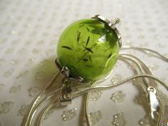 Dandelion Seed Green Glass Reliquary by giftforallseasons on Etsy