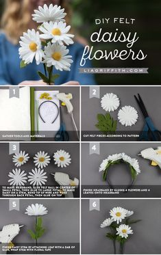 Make Your Own Felt Daisies in Just 5 Easy Steps! - Make Your Own Felt Daisies in Just 5 Easy Steps!These felt daisies are easy as pie and cute as can be! Create your own bouquet or daisy headband to let your inner flower child bloom.Fun felt crafts i Paper Flowers Diy, Handmade Flowers, Flower Crafts, Fabric Flowers, Craft Flowers, Crochet Flowers, Zipper Flowers, Felted Flowers, Felt Flowers Patterns