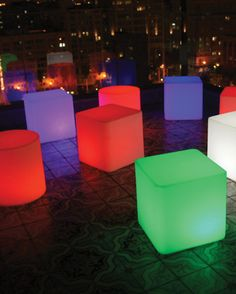 Originally from the Rotolux brand...  versatile solar furniture, useful as a stool, lamp, table or pedestal. Souluxe brings sophisticated lighting. Made from 80% recycled rotomolded plastics and featuring bright, energy-efficient LED lighting... cordless