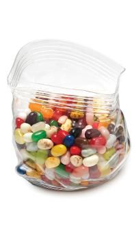 A hand-blown glass container that looks like a Ziploc bag: for your candy-loving friend.