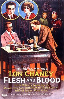 Theatrical poster for the 1922  silent film Flesh and Blood starring Lon Chaney.