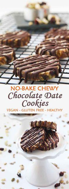 No-Bake Chewy Chocolate Date Cookies #allergenfriendly #vegan #glutenfree #nobake | VegetarianGastronomy.com | www.VegetarianGastronomy.com