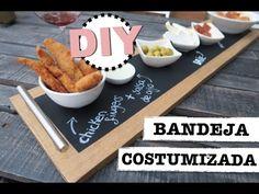 DIY | BANDEJA COSTUMIZADA CON PINTURA DE PIZARRA Tapas, Shanty 2 Chic, Hamburger, Chalkboard, Diy Projects, Food, Youtube, Chalkboard Art, Recycled Materials