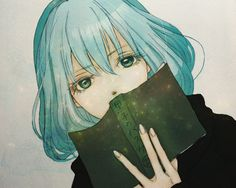 anime girl with book