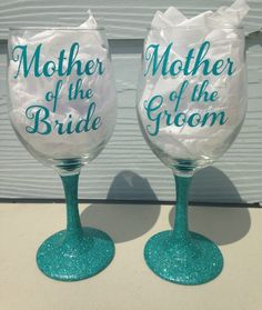 Wedding Day Mother of the Bride and Mother of the Groom Glitter Stem & Vinyl Wine Glass - 20oz by CrissCrossCraft on Etsy https://www.etsy.com/listing/201633533/wedding-day-mother-of-the-bride-and