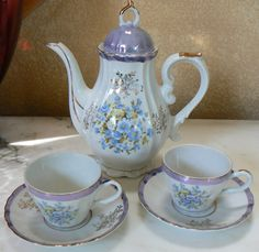 Music Box Tea Pot and 2 Cups Set Musical Tea Party by KrauseHaus, Etsy, ║  ✿ pinned by Colette's Cottage ✿