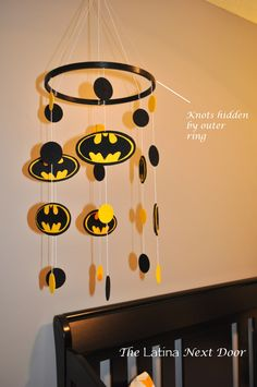 Bat Mobile Tutorial The Latina Next Door - Batman Decoration - Ideas of Batman Decoration - DIY Baby Mobile Batman Theme Baby Batman, Batman Nursery, Batman Bedroom, Panda Nursery, Baby Boy Nursery Themes, Baby Boy Nurseries, Nursery Ideas, Room Deco, Shower Bebe
