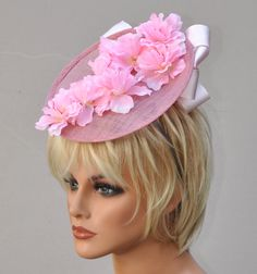 69e8f067ee36 Pink Derby Hat, Kentucky Derby Fascinator, Wedding Hat, Wedding Fascinator,  Fascinator hat
