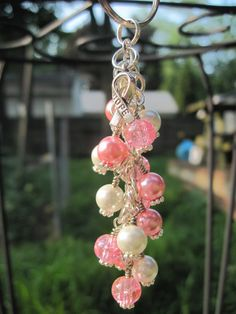 Pink Glass Beaded Purse Charm / Key Chain / Car Mirror Dangle by FoxyFundanglesByCori, $10.00