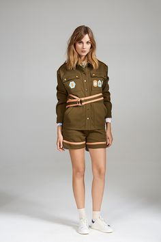 DROP SHOULDER JACKET AND CONTRAST SHORTS Dory, Military Jacket, Contrast, Women Wear, Contemporary, Shorts, Shoulder, Jackets, Collection