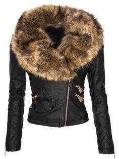 Women's Stylish Faux Fur Long Sleeve PU Coat