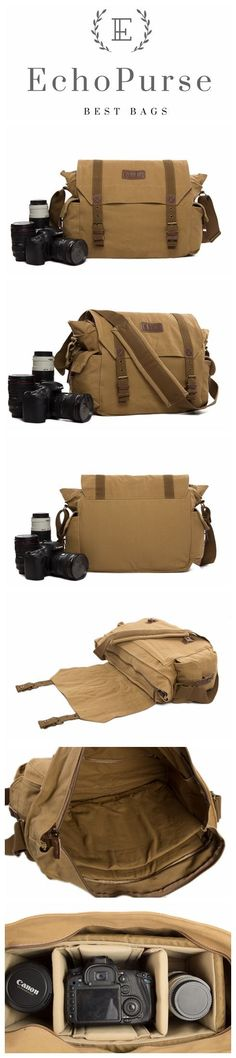 DSLR Camera Bag, Canvas Cross Body Messenger Camera Pouch F1005