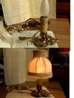 Lamp Shade フランスアンティークキャンドルランプ照明シェード付 インテリア 雑貨 家具 Antique ¥9800yen 〆06月24日