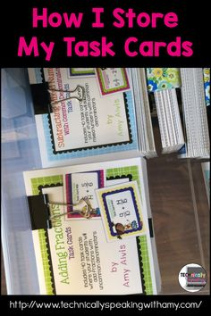 How I store and organize my task cards Reading Task Cards, Math Task Cards, Science Student, Middle School Science, 7th Grade Ela, Sixth Grade, Classroom Organization, Classroom Management, Card Organizer