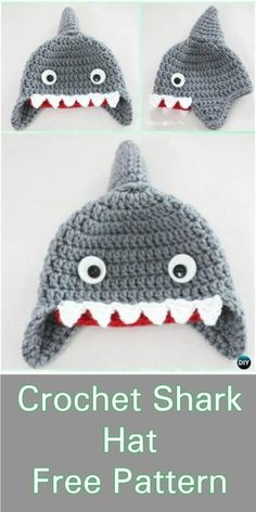 Cozy Crochet Hat Patterns Cozy Crochet Hat Patterns, Shark Hat – Crochet Free Pattern pom beanie, the hat, beanie and many more presented in the list of free crochet Beau Crochet, Bonnet Crochet, Crochet Diy, Crochet Beanie Pattern, Crochet Kids Hats, Crochet Gifts, Baby Knitting Patterns, Baby Hat Crochet, Halloween Crochet Hats