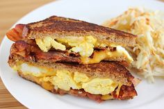 breakfast grilled cheese...OMG this is good, quick & easy! Was out of bacon but used chopped smoked spiral cut ham in place of it. Loved it!