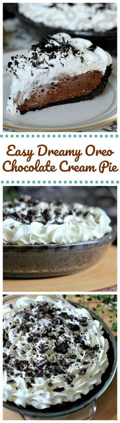Easy Dreamy Oreo Chocolate Cream Pie - Can be ready in 5 minutes for those chocolate cream pie lovers! Hooray! #pie #pudding #oreo #chocolate #easyrecipe #dessert