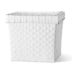 Woven square shape basket with lid comes in black or white, it's 26cm high and £7.