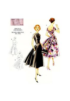 Vogue Vintage Misses Flared Rockabilly Fitted Evening Dress Sewing Pattern. Pattern 1084 is uncut and in factory folds. Sizes 18 and 20 which will fit a bust. Vintage Vogue, Vintage Models, Vintage Fashion, 50s Vintage, Vintage Girls, 1950s Fashion, Evening Dress Patterns, Dress Making Patterns, Vogue Patterns