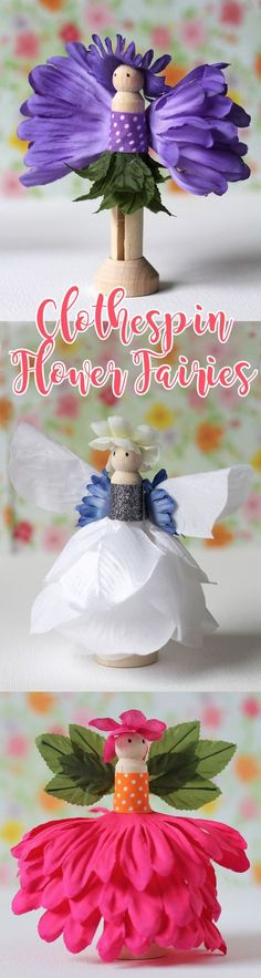 Make these adorable mini fairies using wooden doll pegs and silk flowers! Such a cute craft for girls and easy enough that kids can do it!