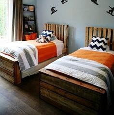 Scrap Wood These twin beds are made from slats taken from the children's former bunk beds. They incorporate scrap wood for the foot and headboards to create a kid-friendly relaxed look. Best of all, re-using a bed that might otherwise find its way to the trash heap scores extra environmental points.
