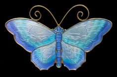 DAVID-ANDERSEN Butterfly Brooch  Gilded silver Enamel