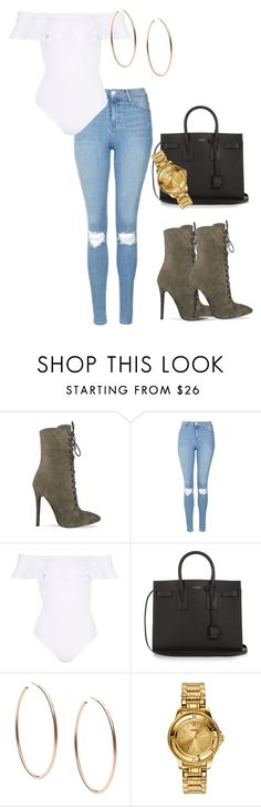 """Untitled #33"" by lxvekhalisha ❤ liked on Polyvore featuring Topshop, Yves Saint Laurent, Michael Kors and Versus"