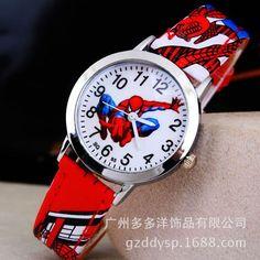 2016 Spider Cartoon Watch Children Kids Wristwatch Boys Clock Child Gift Leather Wrist Watch Quartz Cartoon-watch Quartz-watch