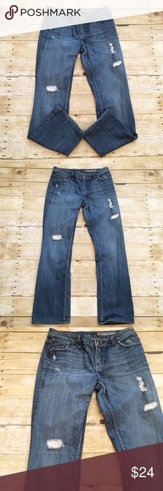 Distressed bootcut Level 99 jeans, size 28 Classic distressed/patched up denim Level 99 jeans in a size 28. Very minor wearing on the bottoms of the legs, but other than that they are in very good condition. Denim is better distressed and patched up! Inseam- approximately 28 inches, rise- approximately 8 inches, waist- approximately 14 inches. Level 99  Jeans Boot Cut