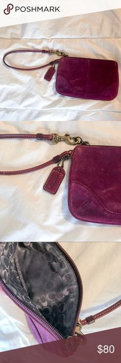 Suede Coach wristlet Perfect condition burgundy suede Coach wristlet. 3x6inches great for carry credit cards, ID. Detachable wristlet leather strap Coach Bags Clutches & Wristlets