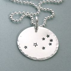 The Pleiades, the Seven Sisters - Hand Stamped Necklace - Sterling Silver. $45.00, via Etsy.